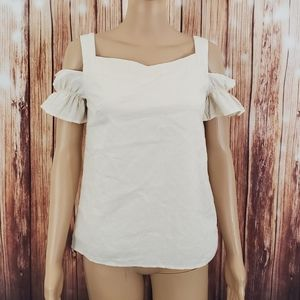 Listicle Blouse Small Beige Cotton